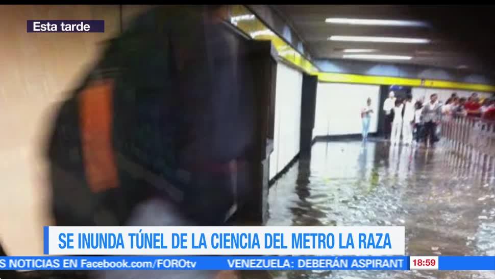 inunda, Túnel de la Ciencia, CDMX, metro La Raza, linea 3, transbordo