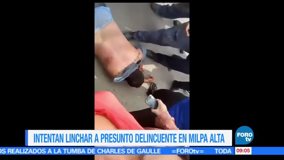 policía, linchamiento, presunto ladrón, delegación Milpa Alta,