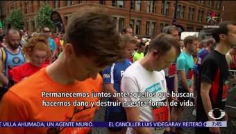 homenaje a víctimas, ataque en Manchester, minuto de silencio, medio maratón