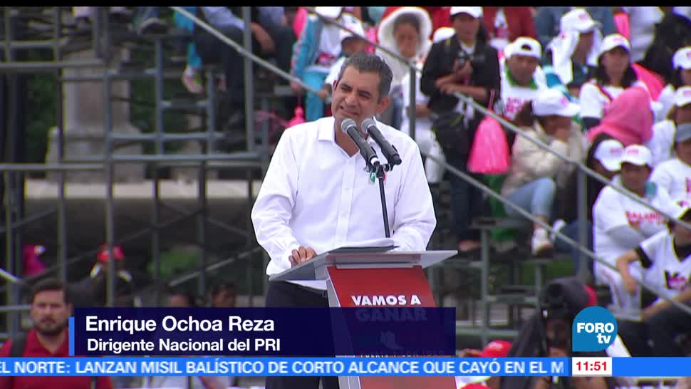Enrique Ochoa Reza, líder nacional del PRI, Alfredo del Mazo, candidato al Edomex, campaña en Toluca