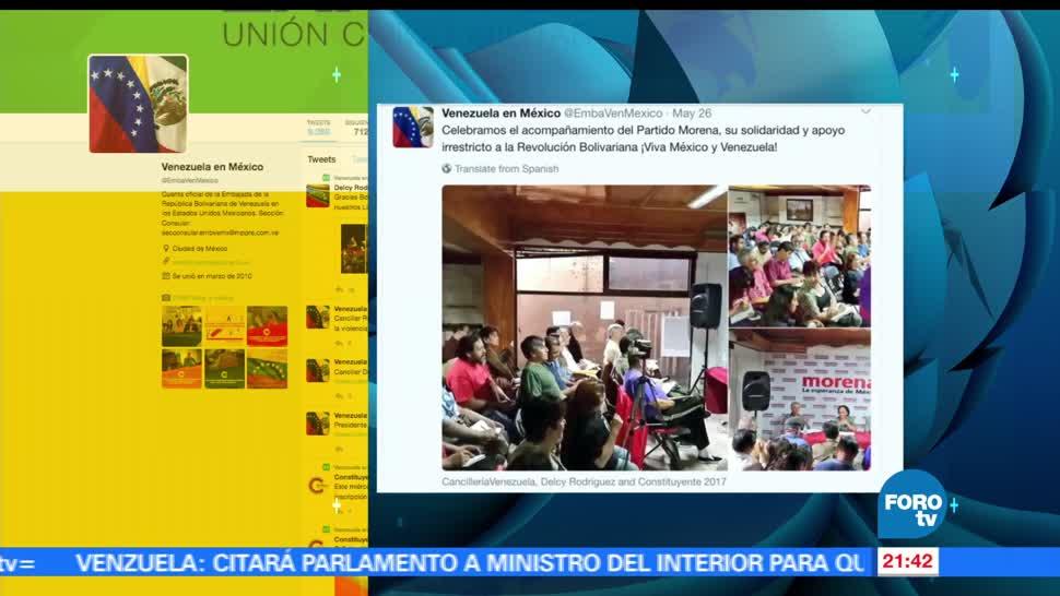 noticias, forotv, Embajada de Venezuela, agradece, Morena, apoyo