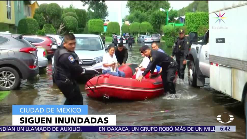 labores para desazolvar, drenaje afectado, lluvias, Villas Prado Coapa, inundaciones
