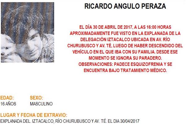 Alerta Amber de Ricardo Angulo Pedraza