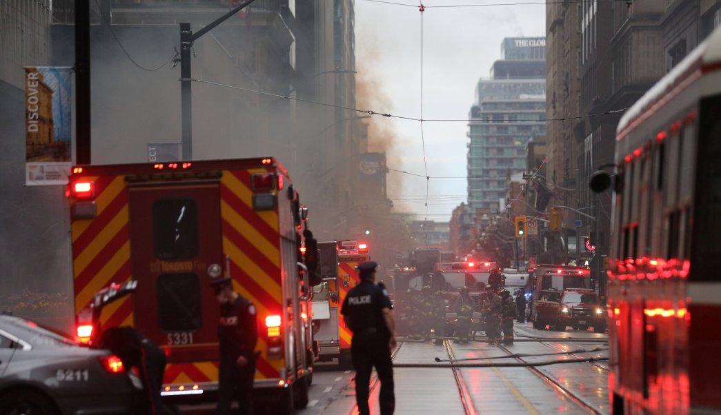 Explosión, Toronto, Canadá, estación, eléctrica, seguridad, humo,
