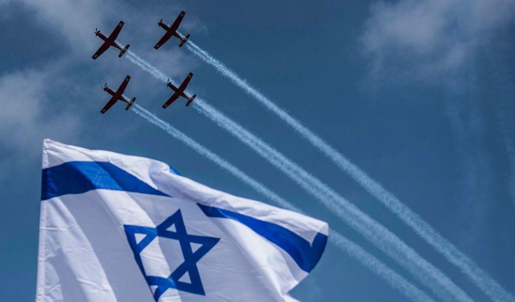 Exhibición, Fuerza Aérea, Israel, conmemoración, independencia, aviones, celebración,