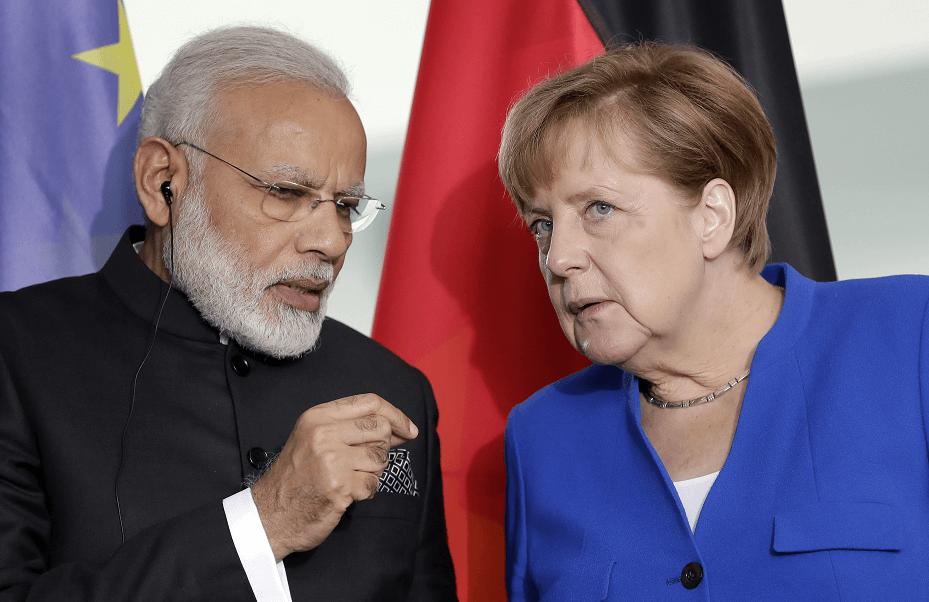 El primer ministro de la India, Narendra Modi, y la canciller alemana, Angela Merkel