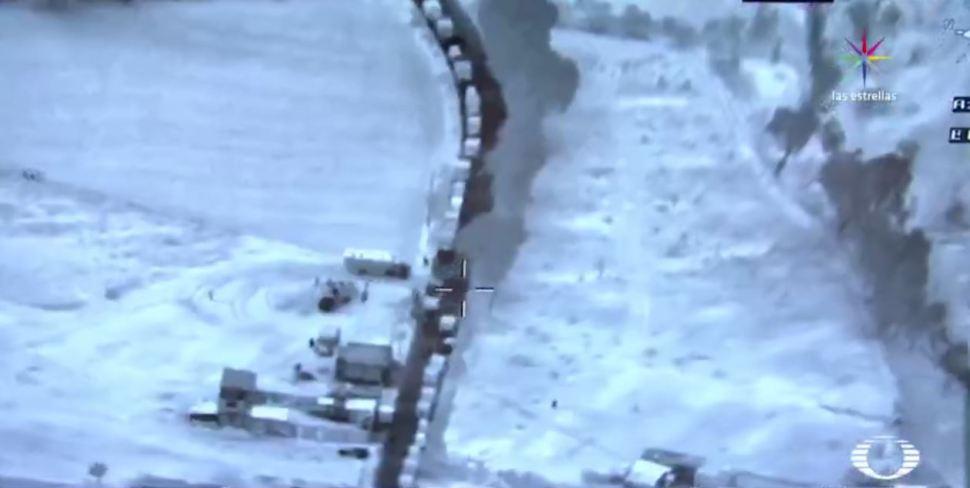 Imagen tomada desde un dron sobre cómo opera la toma clandestina de huachicoleros
