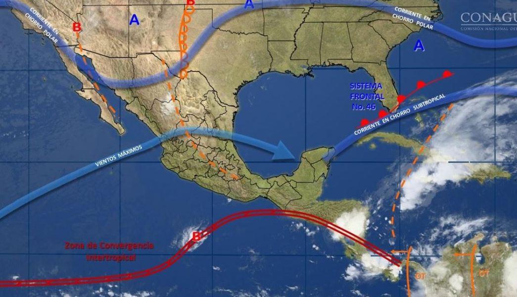 mapa con el pronostico del clima para este 16 de mayo