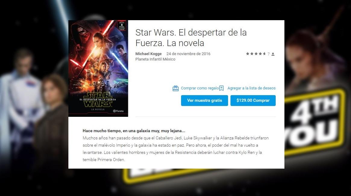 """""""El despertar de la Fuerza"""" es el libro más descargado en Google Play México"""
