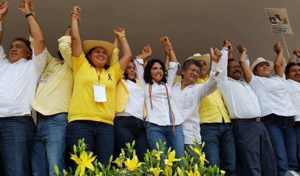 La dirigente nacional del PRD acudió a una marcha organizada por la dirigencia estatal en Guerrero (Twitter @Ale_BarralesM)