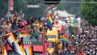 Marcha gay, desfile de orgullo gay, Ciudad de México.,trasvesti, lesbianas