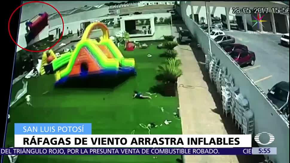 San Luis Potosí, ráfagas de viento, juegos inflables, niños