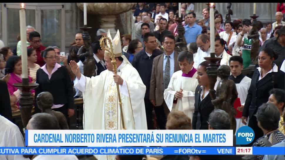 noticias, forotv, Norberto Rivera, renunciará, próximo martes, Hugo Valdemar