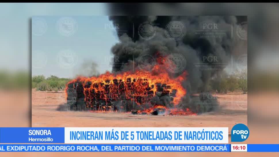 Incineran, 5 toneladas, narcóticos, drogas, decomisadas, Sonora