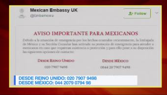 Embajada, México, Reino Unido, emite. aviso connacionales