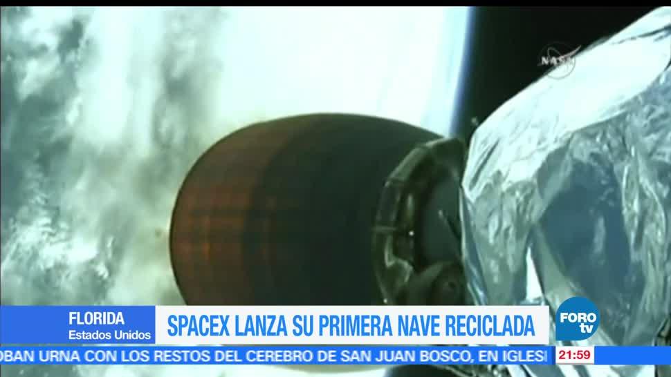 SpaceX, lanza, nave, reciclada. Florida, lanzamiento