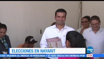 noticias, forotv, Candidatos, gubernatura, Nayarit, acuden a las casillas para votar