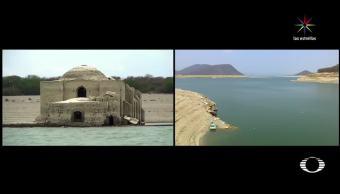 Lluvias, Oaxaca, recuperan niveles, presa, Benito Juárez, cubre templo