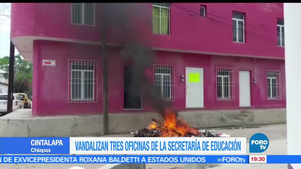 Vandalizan, tres oficinas, educación CNTE, Chiapas, manifestaciones, protestas