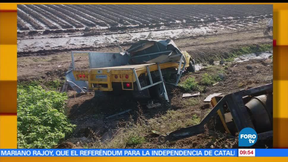 Choque, volcadura, dos muertos, Guanajuato