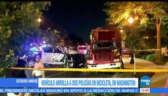 Vehículo, atropella dos policías, en bici, Estados Unidos