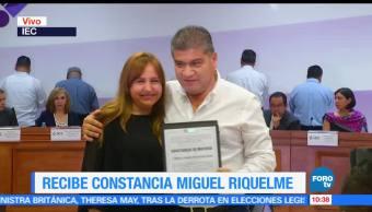 candidato del PRI, Miguel Ángel Riquelme, constancia de mayoría, Instituto Electoral, Coahuila