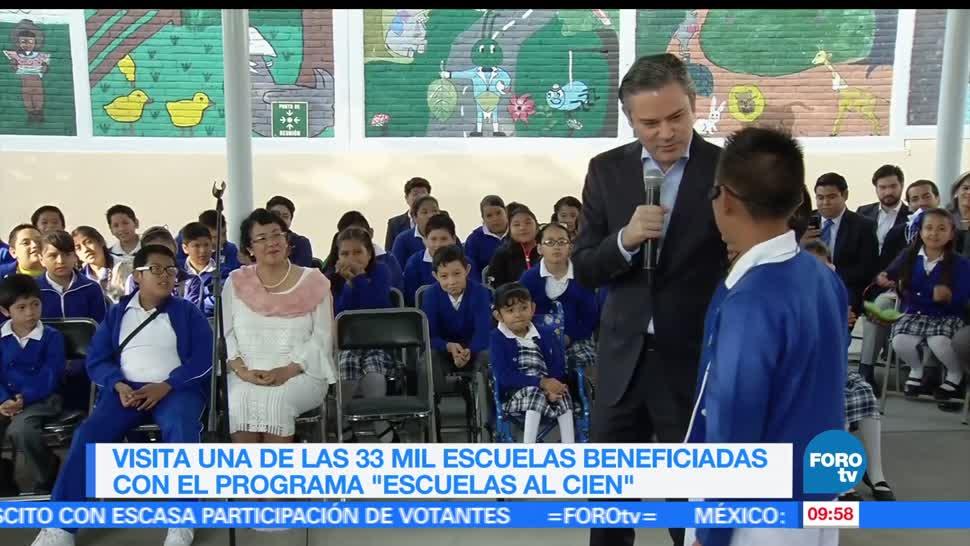 Aurelio Nuño, secretario de Educación Pública, programa Escuelas al Cien, escuelas beneficiadas