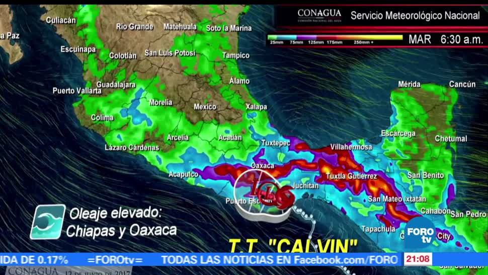 noticias, forotv, Calvin, toca tierra,, Oaxaca, tormenta ropical