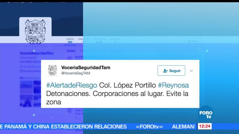 Emiten alerta, Reynosa, detonaciones, colonia López Portillo, civiles, zona