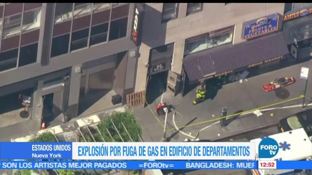 35 personas, lesionadas, explosión por fuga de gas, New York, Estados Unidos