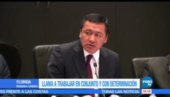 Osorio Chong, llama, trabajar en conjunto, determinación, conferencia, seguridad