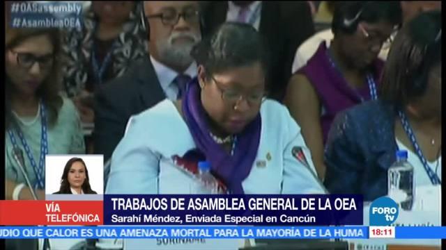 La canciller de Venezuela, Delcy Rodríguez, abandona reunión, ministros de la OEA