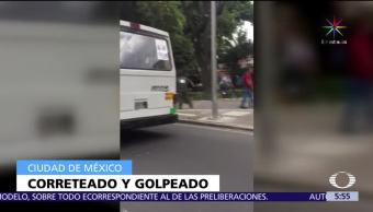 Difunden video, personas corriendo, tráfico, calzada de Tlalpan, hombre