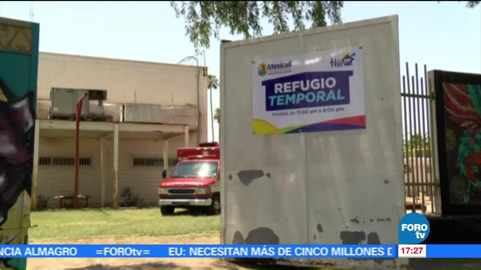 noticias, forotv, Abren, refugio temporal, mitigar el calor, Mexicali