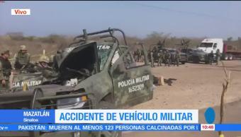 Accidente en Mazatlán, Accidente, Mazatlán, vehículo militar, dos muertos