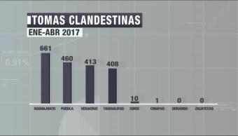 Guanajuato, encabeza, la lista, tomas clandestinas