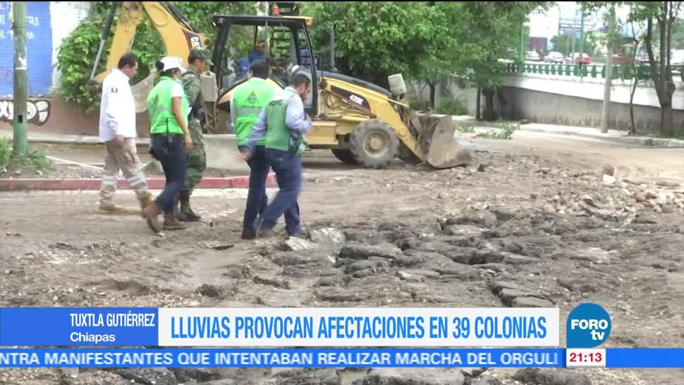 Lluvias, dejan, daños, 39, colonias, Tuxtla Gutiérrez Chiapas