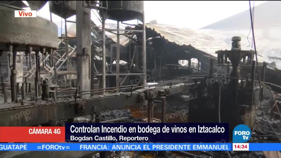 Controlan, incendio, bodega vinos, Iztacalco