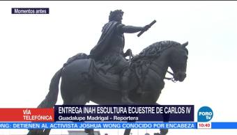 INAH, entrega escultura, El Caballito, Centro Histórico de la CDMX