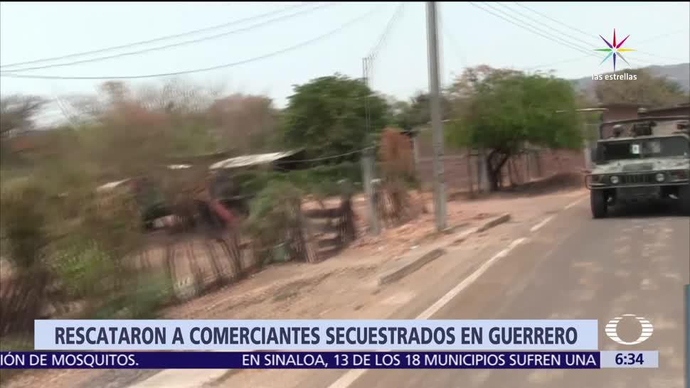 Militares rescatan, 13 comerciantes, secuestrados, Guerrero