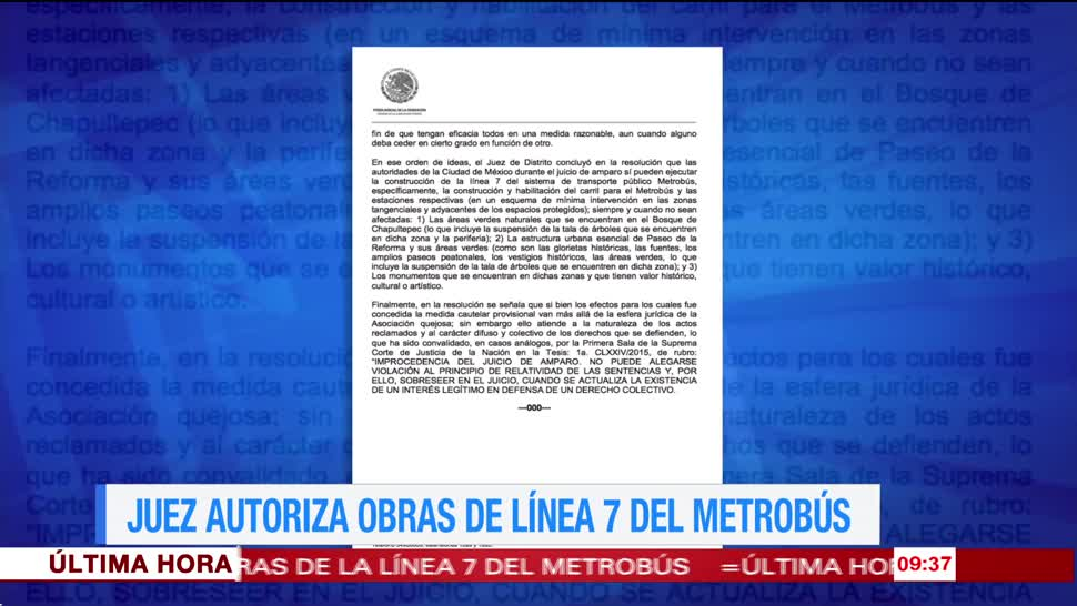 Juez, autoriza obras, Línea 7 del Metrobús, CDMX