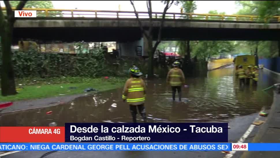 Bomberos, desazolvan, drenaje, calzada México-Tacuba