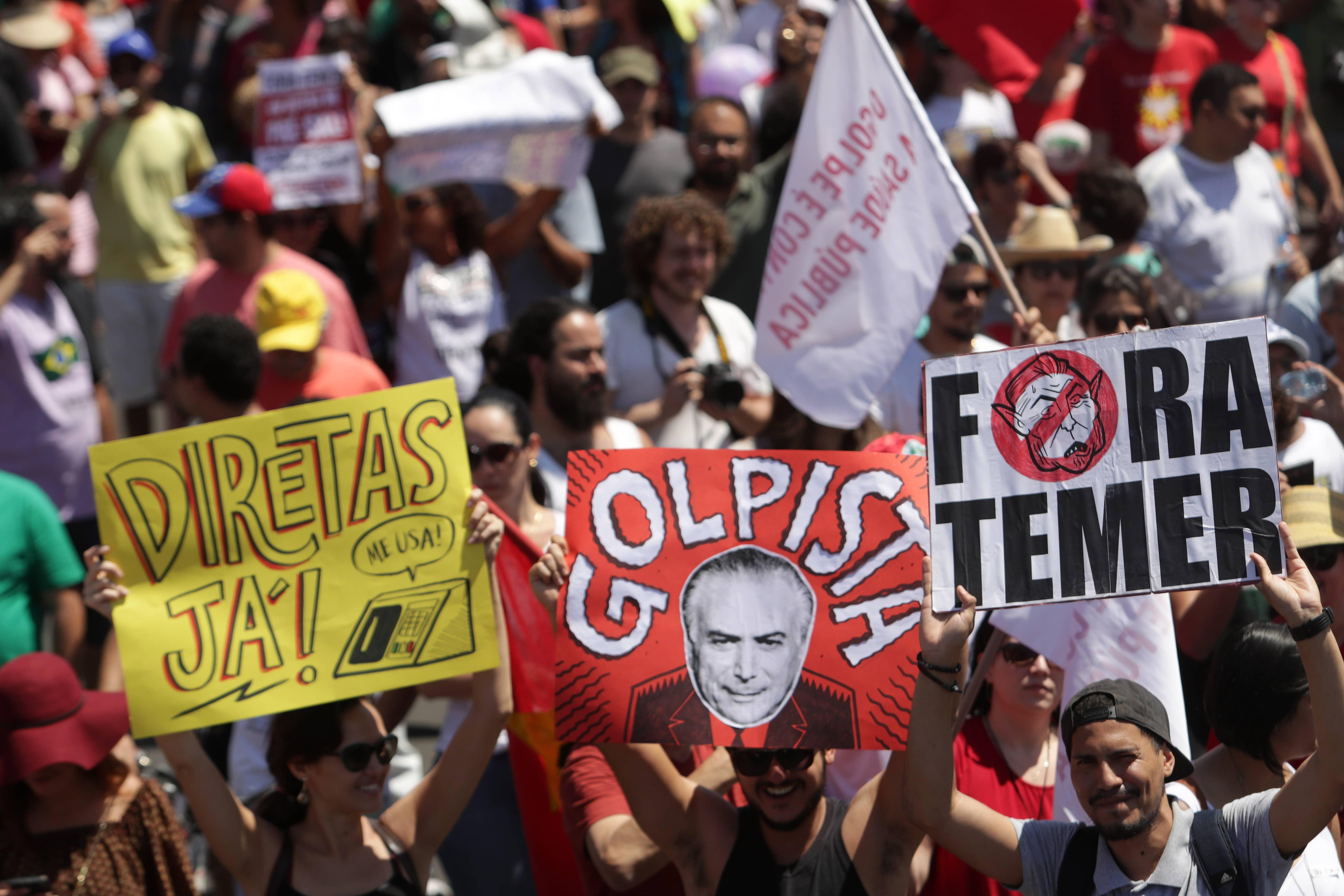 Protesta contra el expresidente de Brasil, Michel Temer por el caso Odebrecht