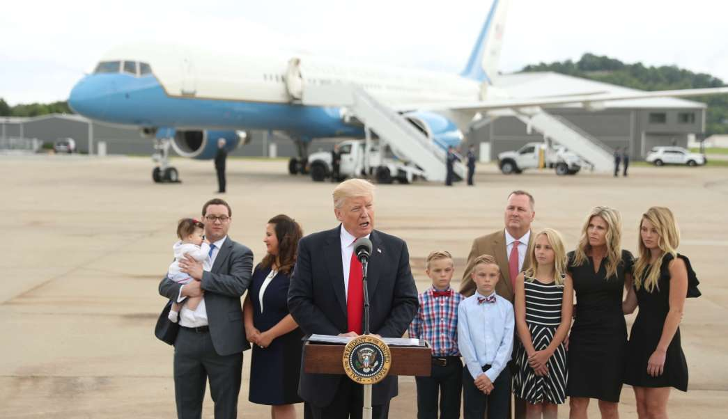 Presidente de Estados Unidos, Donald Trump, Aeropuerto Lunken de Cincinnati, Ohio