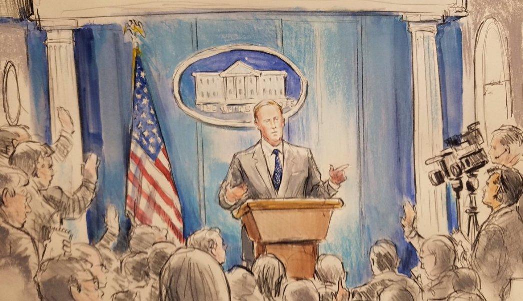 CNN, dibujante, Spicer, Casa Blanca, conferencia, prensa,