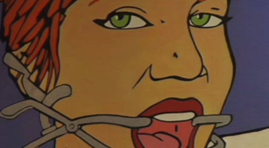 Caricatura de mujer con arnés en la boca
