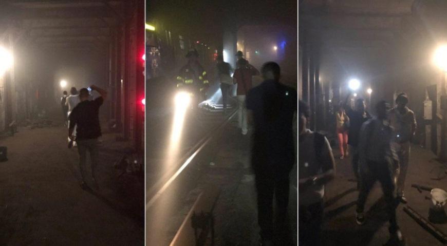 Imágenes muestran pasajeros evacuados de un tren lleno de humo tras un descarrilamiento en el metro de New York (Twitter: @Daily_Star)