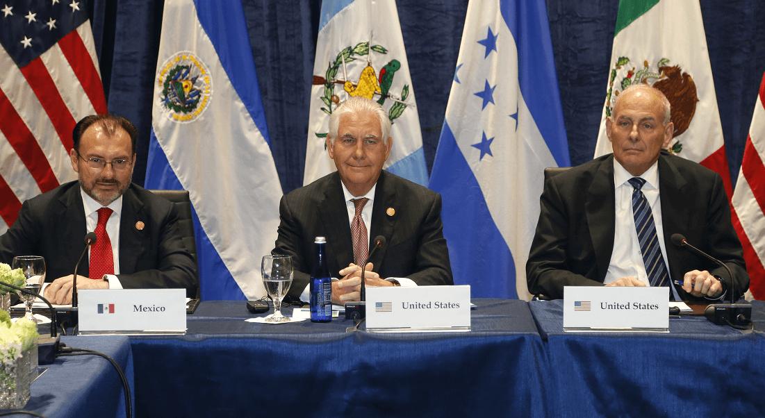 Luis Videgaray, Rex Tillerson y John Kelly