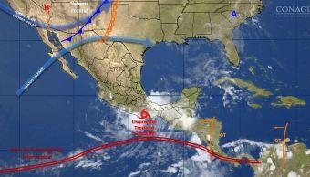 mapa con el pronostico del clima para este 13 de junio