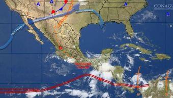 mapa con el pronostico del clima para este 14 de junio